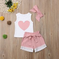Cute Heart Print Bow Knot Decor Sleeveless Top, Lace Trimmed Shorts and Headband Set - Products - Baby Hair Baby Girl Dresses, Baby Dress, Short Outfits, Boy Outfits, Kids Girls Tops, Toddler Girls, Baby Hair Bands, Lace Trim Shorts, Matching Family Outfits