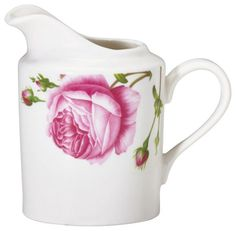 """Dieses Milchkännchen passt perfekt zu Ihrem Kaffeeservice der Geschirrserie """"Rose"""". Die glänzende Keramik ist mit rosafarbenen Blumen bedruckt und spülmaschinengeeignet. Der praktische Ausgießer und der geschwungene Henkel unterstreichen den verspielten Look. Sie werden dieses romantische Milchkännchen lieben!"""