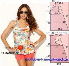 O molde de blusa nadador florida encontra-se no tamanho 36 na tabela Portuguesa e 40 na tabela Brasileira. A ilustração do molde de blusa não tem valor de..