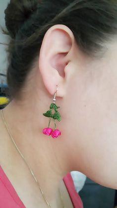 EARRINGS  Pink Crochet  cherry earrings Summer jewelry trends