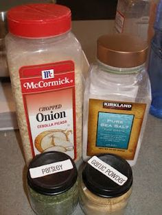 Ranch:  5 tablespoons dried minced onions  7 teaspoons parsley flakes  4 teaspoons salt  1 teaspoon garlic powder  Mix together and store in an air tight container.  For dressing: Mix 2 tablespoons dry mix with 1 cup mayonnaise and 1 cup buttermilk or sour cream.  For dip:  Mix 2 tablespoons dry mix with 2 cups sour cream.  Mix up a few hours before serving, so the flavors all blend.