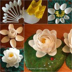 DIY-Plastic-Spoon-Waterlily-Flower #diy, #crafts, #recycle