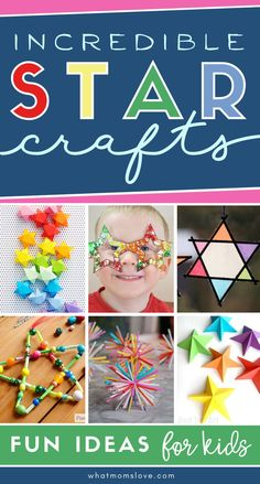 The BEST star craft ideas for kids (from preschool and toddlers) & adults, including how to make paper stars, easy star ornaments and more! Perfect for holidays like Christmas, Hanukkah, New Year's, or 4th of July. Easy Arts And Crafts, Crafts For Kids To Make, Art For Kids, Kids Crafts, Toddler Crafts, Preschool Crafts, Preschool Ideas, Activity Games For Kids, Kid Activities