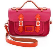 Cambridge Satchel Mini Two Tone Satchel - Flame Orange/Hot Pink