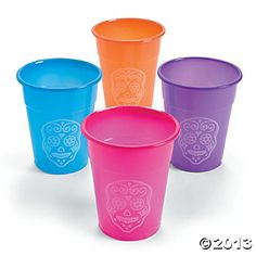 Day Of The Dead Disposable Cups, Party Cups, Drinkware, Party Tableware, Party Supplies - Oriental Trading Day Of The Dead Party, Day Of The Dead Skull, Halloween Supplies, Party Supplies, Halloween Party, Open A Party, Halloween Table Runners, Sugar Skull Design, Disposable Cups