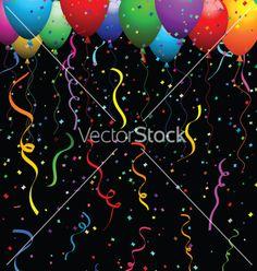 Confetti and balloons vector on VectorStock®