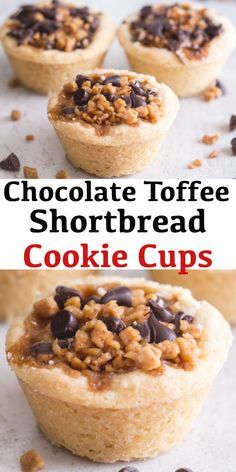 These bite size Cookie Cups are the perfect Holiday sweet treat. A melt in your … These bite size Cookie Cups are the perfect Holiday sweet treat. A melt in your mouth shortbread filled with mini chocolate chips and toffee bits. Finger Desserts, Mini Desserts, Holiday Desserts, Easy Desserts, Delicious Desserts, Holiday Foods, Yummy Food, Chocolate Toffee, Mini Chocolate Chips