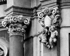Putti - 11x14 black and white photograph, Sicily, Italy, baroque architectural…