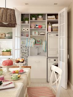Check out these Decorating Interior Apartments With Fabric & Paper Projects ideas. any interior designs which reflect your personality inside your home. Laundry Nook, Laundry Closet, Hidden Laundry, Laundry Station, Room Deco, Small Room Bedroom, Apartment Interior, Cozy House, Home Organization