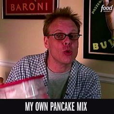"""Mix It's easier to make Alton's """"Instant"""" Pancake Mix than it is to go to the store to buy a box!It's easier to make Alton's """"Instant"""" Pancake Mix than it is to go to the store to buy a box! Pancakes Easy, Pancakes And Waffles, Alton Brown Pancakes, Breakfast Time, Breakfast Recipes, Brown Recipe, Make Ahead Meals, Dessert, Recipe Of The Day"""