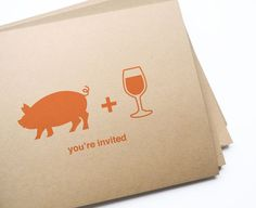 swine & wine postcard invites - Great invites for the grad party...seller will even customize!