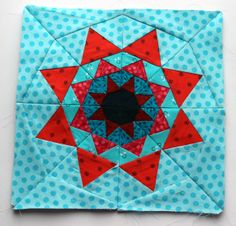 Free Paper Piecing Patterns - flying home: red aqua paper piecing star quilt block pattern