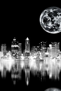 The Art of Black & White photography | Reflections of the city at night on water | Moon