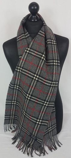 BURBERRY SCARF 100% LAMBSWOOL FOR MEN AND WOMEN MADE IN ENGLAND  A979   fashion f586cc909fe