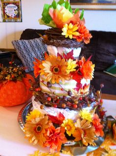 Autumn diaper cake. # autumn #fall #diapercake #craftyconjuring #baby #babyshower