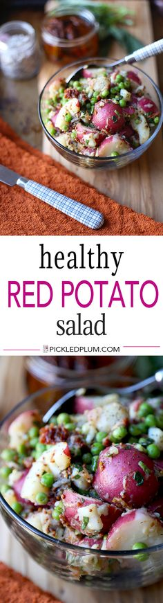 Healthy Red Potato Salad - A deliciously tangy red potato salad with sun dried tomatoes,  green peas and basil, tossed in a light mustard and vinegar dressing. Ready in 15 minutes! Take it to lunch!   pickledplum.com