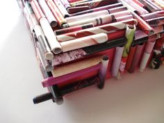 Rolled Paper Art: Pink Rolled Papers on Canvas