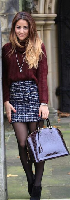 Love this look - tights, tweed skirt and sweater