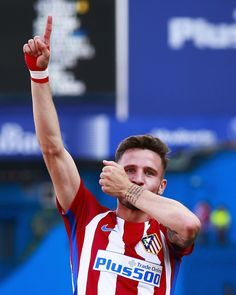 Saul Niguez of Atletico de Madrid celebrates scoring their opening goal during the La Liga match between Club Atletico de Madrid and SD Eibar at Estadio Vicente Calderon on May 6, 2017 in Madrid, Spain.