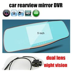 5 inch Car DVR Rearview mirror Mirror Monitor 1080P Dual Lens Camera camcorder night vision new arrival with rear camera