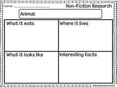 Animal Research Template Freebie  Writing