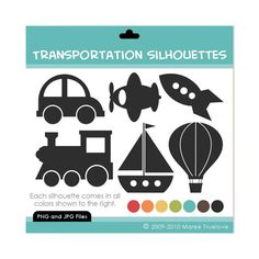 Transportation Silhouettes Clipart - Digital Clip Art Graphics for Personal or… Toddler Room Decor, Kids Decor, Silhouette Projects, Silhouette Design, Silhouette Cameo, Stencil Art, Stencils, Transportation Party, Circle Art