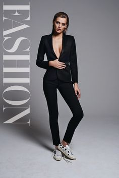 Suiting up, Bregje Heinen wears Saint Laurent jacket and shoes with DSquared2 pants for FASHION Magazine February 2017 issue