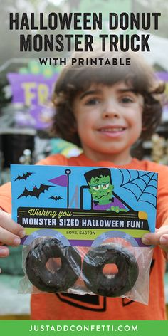 These Frankenstein Monster Truck Halloween Treats are so adorable! I love how easy they are to assemble too! Just put two chocolate donuts in a plastic baggie and attach the printable. No tricks, only treats! Perfect for school, party favors, goodie bags, kids hand outs and even to boo the neighbors! Be sure to head to our Just Add Confetti Etsy shop to grab the printable!