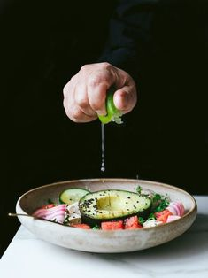 Vegan tofu avocado and watermelon salad recipe The Little – love the action and composition in this fresh salad image Watermelon Salad Recipes, Avocado Salad Recipes, Tofu, Food Styling, Styling Tips, Dark Food Photography, Photography Backdrops, Cooking Photography, Kirlian Photography