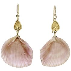 Early Victorian Pink Shell Drop Earrings ($1,650) ❤ liked on Polyvore featuring…