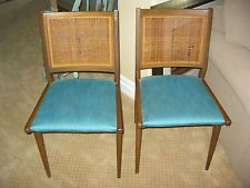 Pair Of Two Vintage Danish Mid Century Modern Turquoise CANE...