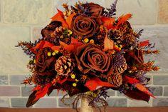 Fall Wedding Bouquet, Woodland Wedding, Woodland Bouquet, Rustic Bouquet, Autumn Bouquet, Bridal Bouquet Brown Roses & Fall Foliage  141. $150.00, via Etsy.