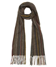 Paul Smith Accessories Grey Striped Wool and Cashmere-Blend Scarf | Scarves by Paul Smith Accessories | Liberty.co.uk