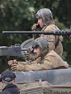 Actors Brad Pitt and Shia LaBeouf film their new movie 'Fury' in Oxfordshire, England on October 4, 2013. Locals have been informed of gunfir...