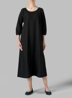 MISSY Clothing - Linen Elbow Sleeve Long Dress