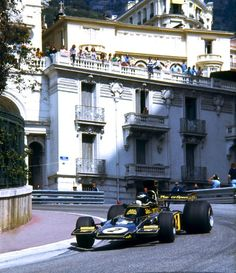 Classic F1.... On the limit around Monaco in a black JPS Lotus