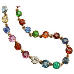 Colorful Gemset Gold Edwardian Necklace   From a unique collection of vintage link necklaces at https://www.1stdibs.com/jewelry/necklaces/link-necklaces/