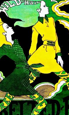 Illustration by Antonio Lopez, 1967 - I used to have Wild Hair - more a damp squib now. Have loved Antonio illustrations forever Mode Vintage Illustration, Illustration Art Nouveau, Hair Illustration, Illustration Fashion, Vintage Illustrations, Art Pop, Psychedelic Art, Psychedelic Fashion, Vintage Posters