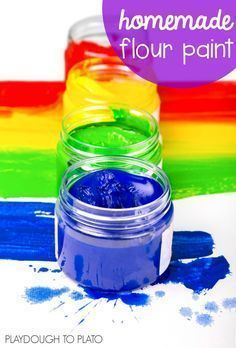 Homemade Flour Paint Recipe! Taste-safe and so easy to make. This is perfect for toddler and preschool art projects.