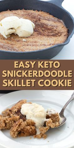 This is it! The end-all, be-all, best low carb dessert ever. This grain-free and sugar-free Snickerdoodle Skillet Cookie will delight your tastebuds. Warm cinnamon goodness! Keto Dessert Easy, Healthy Dessert Recipes, Keto Snacks, Diabetic Deserts, Atkins Desserts, Low Carb Desserts, Low Carb Recipes, Sugar Free Donuts, Easy Keto Meal Plan