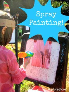 spray painting messy art ideas :: fun kids outdoor painting activity :: summer camp art activity