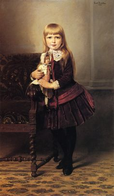 Emil Brack, Portrait of a girl in a velvet dress with a doll, 1887