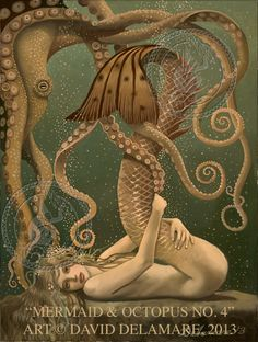 ♒ Mermaids Among Us ♒ art photography & paintings of sea sirens & water maidens - Mermaid & Octopus No. 4