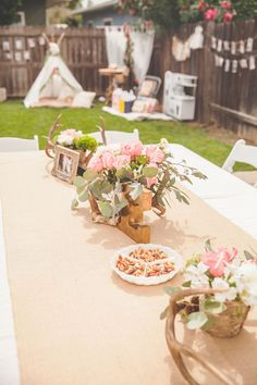 The decor for the event was rustic yet elegant. The tables were set up beautifully with gorgeous flowers and pictures surrounding the awesome antler centerpieces. Source: Rochelle Wilhelms Photography via Pretty My Party Wild One Birthday Party, Baby Girl First Birthday, First Birthday Parties, Birthday Party Themes, Birthday Ideas, Birthday Dresses, 2nd Birthday, Flower Birthday, Princess Birthday