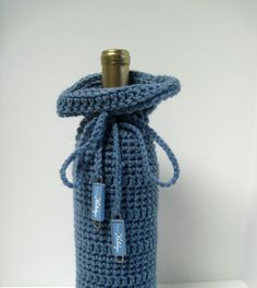 crochet wine bottle cover pattern free | Blue Crochet Holiday Wine Bottle Covers Sacks Gift Bags: Blue with ...