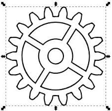 Gear pattern. Use the printable outline for crafts