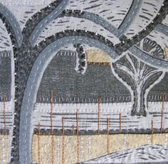 Our View......... Lino print on linen with hand stitched detail.