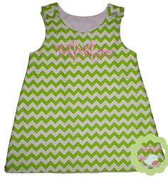 Lime Chevron A line Dress Personalized with your childs name or monogram in the thread color of choice. $35.00, via Etsy.