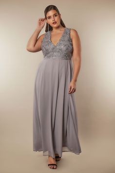 AX PARIS CURVE Grey Sequin Maxi Dress