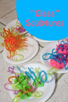 An easy hands on art activity for preschoolers and early elementary. They use safe materials to explore sculpture similar to Chihuly's Glass Sculptures.